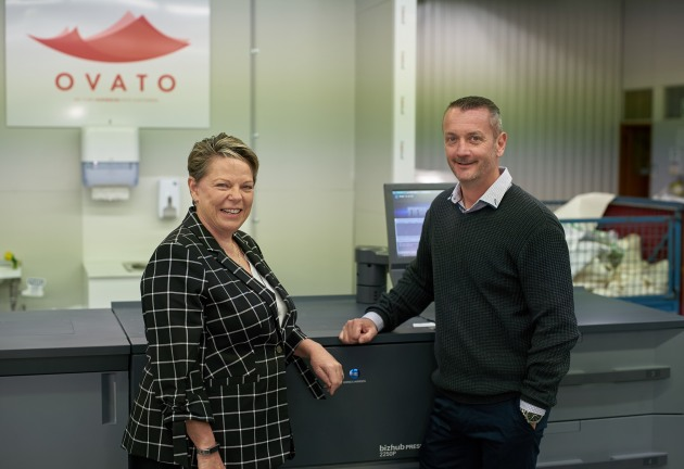 Latest Konica Minolta digital printing: Richard Higgin, general manager at Clayton, with Sue Threlfo general manager, production & industrial Print, Konica Minolta