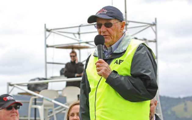 Yarra Valley Aviation CEO Roger Merridew speaks at the 2019 Lilydale Air Show. (Kevin Hanrahan)
