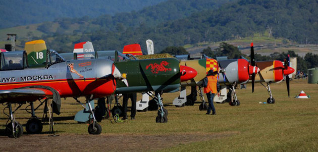 The Russian Roolettes aerobatic formation team wait their turn. (Steve Hitchen)