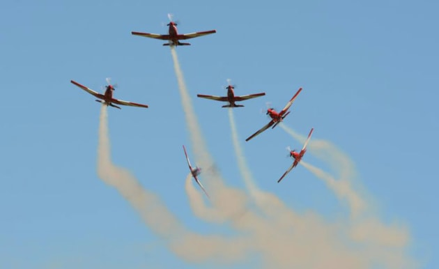For the last time? The RAAF Roulettes' PC-9 display is likely to be the last one at WOI. The team will convert to the PC-21 later this year. (Steve Hitchen)