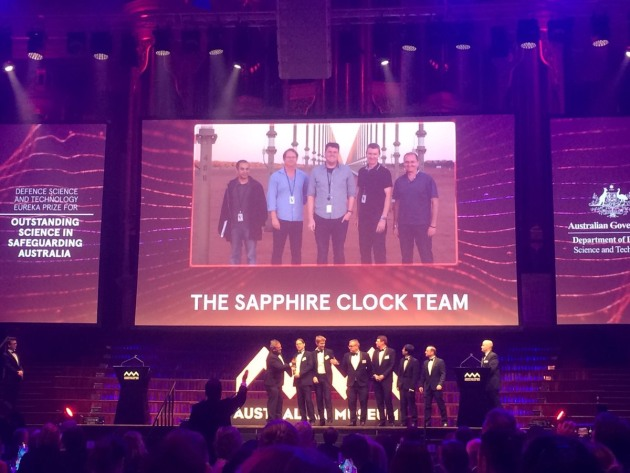 The team responsible for the Sapphire Clock have taken out DST's Eureka prize. University of Adelaide via Twitter