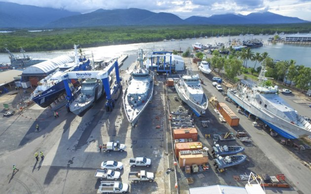 Aerial shot of the Norship shipyard in Cairns. (Supplied: Norship Marine)