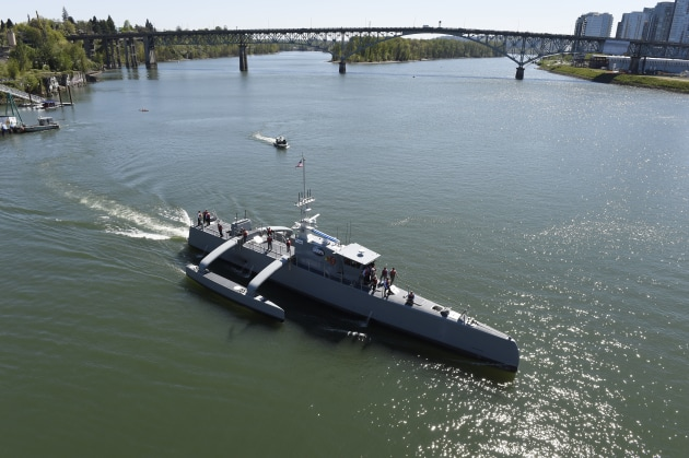 The Sea Hunter, part the of the Defense Advanced Research Projects Agency (DARPA)'s Anti-Submarine Warfare Continuous Trail Unmanned Vessel (ACTUV) program. (Credit: USN)