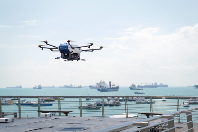 The Skyways parcel delivery drone taking off.