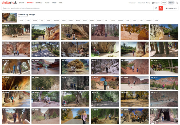 The results from Shutterstock. The software was able to identify a large number of clips with a similar look and feel.
