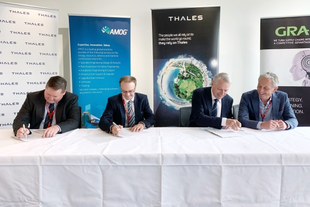 Matthew Shea, Chief Development Officer ECLIPS; Ben Clark, CEO AMOG Consulting; Chris Jenkins, CEO Thales Australia; Steve Bray, Partner GRA. (supplied)
