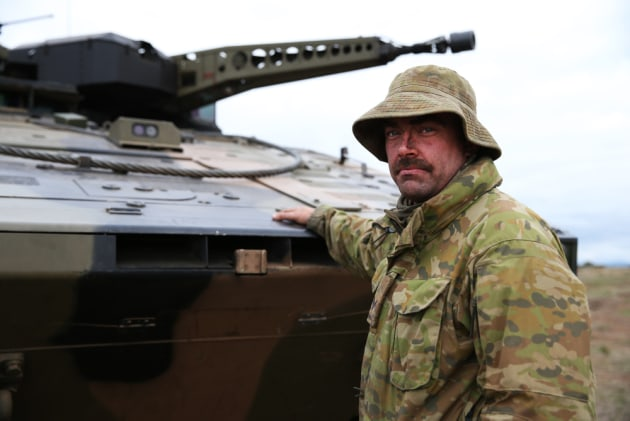 Corporal Joshua Bock, crew commander of Rheinmetall's Boxer CRV, during Exercise Chong Ju.