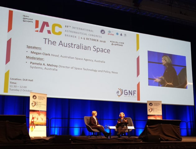 ASA head Dr Megan Clarke and retired astronaut Pam Melroy at the International Astronautical Congress in Bremen. Alice Gorman via Twitter (Commons)
