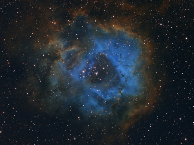 YOUNG ASTRONOMY PHOTOGRAPHER OF THE YEAR Stellar Flower © Davy van der Hoeven (Netherlands),  aged 11 – WINNER Once the photographer decided to capture a deep sky image, he started researching online for nebulae and came across the magnificent Rosette Nebula. With the help of his father he built the equipment and together, over three nights in November, captured images images of the Rosette Nebula using different filters. In order to familiarise with processing images, the young photographer practised on one of his father's older photographs and then processed the raw data of this image by himself.  Hendrik-Ido-Ambacht, South Holland, Netherlands, 26 February 2019 QSI 583ws camera, TMB92SS 92mm apochromatic refractor telescope. 16 hours 15 minutes total exposure @ f5.5, Sky-Watcher NEQ-6 mount, Ha-OIII-SII composite.