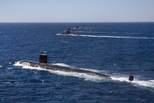 US and Australian submarines sails in formation in waters off the west coast of Australia.