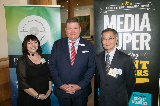 International judges: Tricia Pink, CEO of a New Zealand marketing, direct mail, and design firm, and Major Wong, print industry veteran, with PVCA CEO Andrew Macaulay
