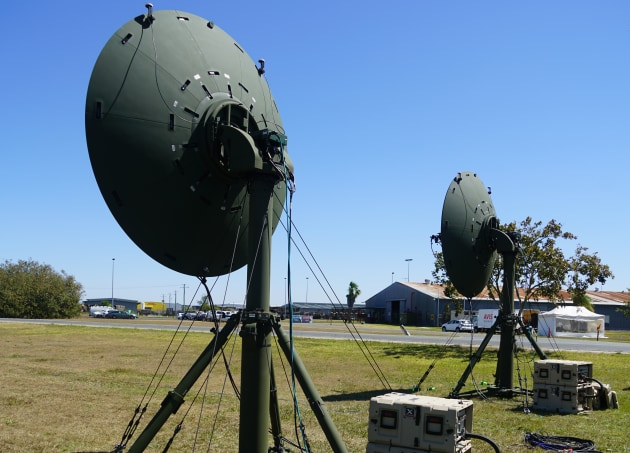 The Troposcatter Communication System bounces communications signals from the Earth's troposphere to provides the ADF with a long-range communications capability.