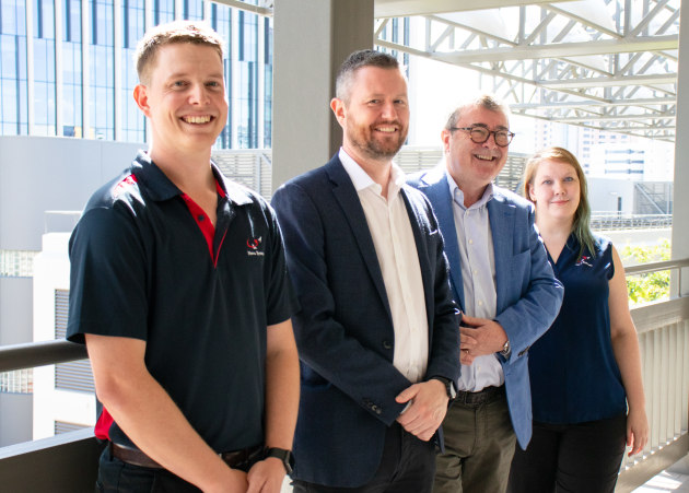 UniSA Vice Chancellor Prof David Lloyd with Nova Group CEO Jim McDowell, along with UniSA graduates & now Nova employees Paul Summerton and Katrin Horsey.