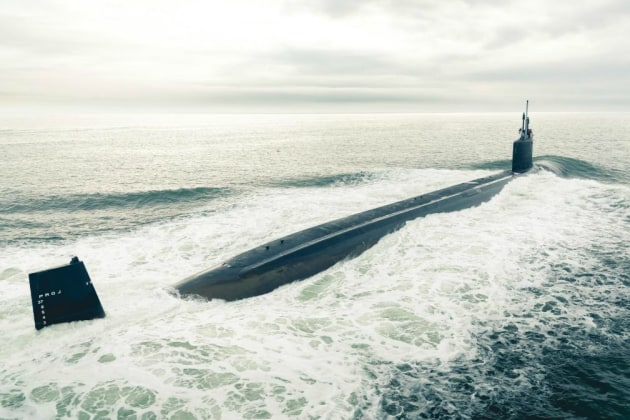 The US nuclear-powered submarine Pre-Commissioning Unit (PCU) Indiana departs to conduct sea trials in the Atlantic Ocean.