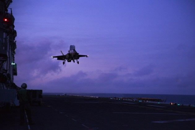 An F-35B Lightning ll fighter aircraft prepares to land on the flight deck of the USS Wasp, which is participating in Talisman Sabre 2019. Credit: US DoD