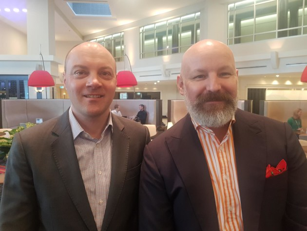 Opportunities: Andy Yarrow (right), VP APAC Kornit, with Jamie Weller, ANZ country manager, in Australia