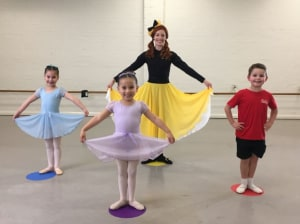 The Yellow Wiggle gets children ready to return to dance class