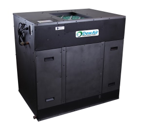 Split system dehumidifier with counter flow exchanger