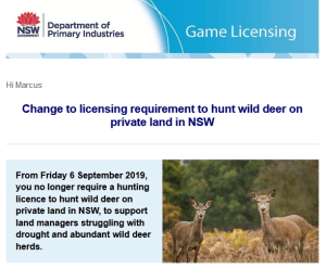 No Hunting Licence For Deer in NSW imminent